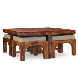 Centre Table+4 Cushion Stools.Brand New Pepperf Piece. Sheesham Wood