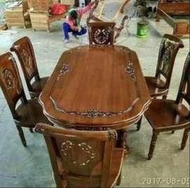 meja kursi  makan minimalis jati