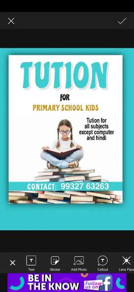 Tution for all subjects except computer and hindi