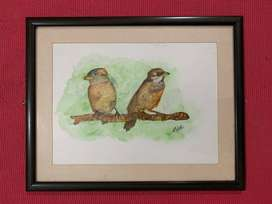 Watercolour Framed Wall Painting - Gift item - Home Decor - Bird Art