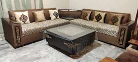 7 Seater Corner Sofa Set With Corner Golwing Light Table