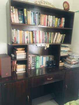 Book rack cum study table with cabinet below