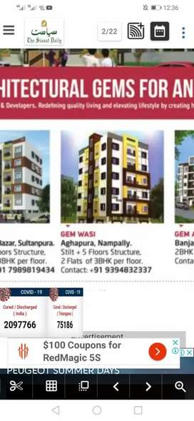 Newly constructed Flat for sale 3BHK 2