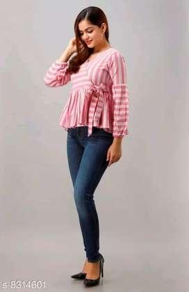 Women's Cotton Yarn Stripe Print Peplum Top (Pink)