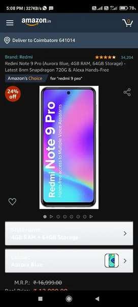 Redmi note 9 pro, 4gb ram, 64 internal