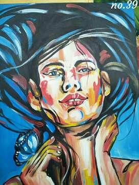 Lukisan canvas cat minyak asli