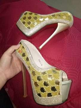 Heels sofya size 36 wrna gold tinggi heels 15cm