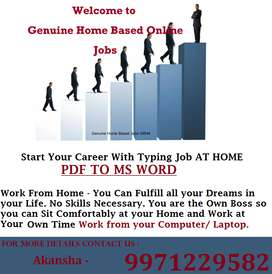 Do PART Time / Full Time Typing Work And Earn Unlimited Income