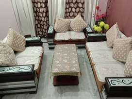 sofa 7 seater with wooden table