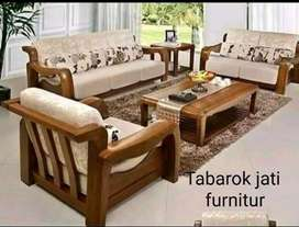 Sofa tamu minimalis mewah model korea, 3.2.1,bahan kayu jati tua asli