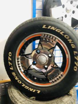 Used Alloy Rims & Tyres Set Size 12 114 P.C.D