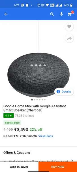 Google Home Mini Smart Assistance Charcoal Color