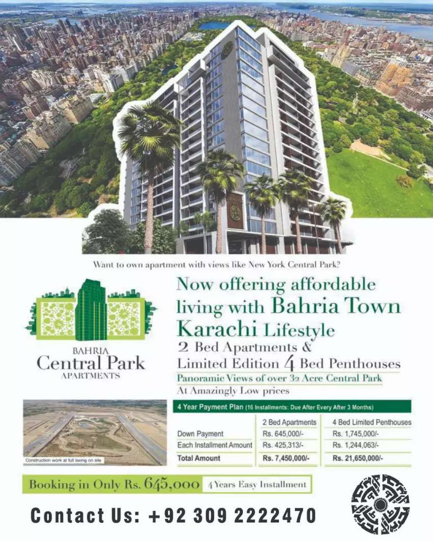 Bahria  central park 4bed penthouse new booking Apartment 0