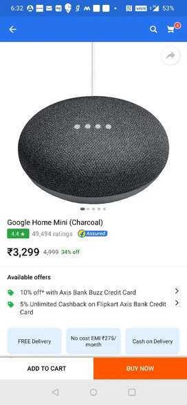 Google home mini 2 days old white color with bill