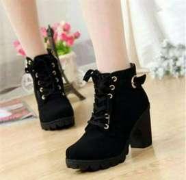 Sepatu wanita heel boot coboy murah bisa bayar di tempat