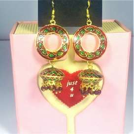 Earrings with Red Stones | سرخ پتھروں والی کان کی بالیاں