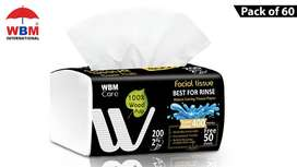WBM 2 Ply Facial Tissue Pack - 200 Sheets | Pack of 60