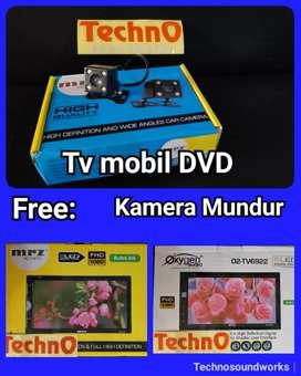 Tv mobil dvd + kamera mundur 4 led double din tape for paket sound