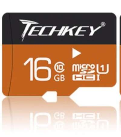 Techkey Micro SD Card - 16GB Class 10 Water Proof And Dust Proof 0