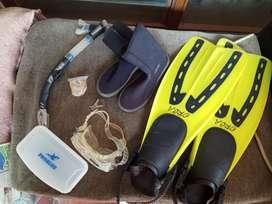 Fin ocra, delta diving shoes, masker problue lengkap