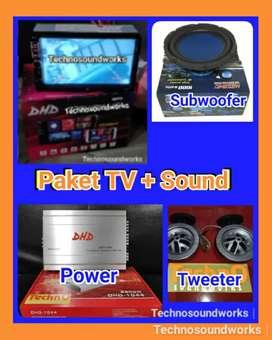 Paket sound komplit + tv 7in Mp4 YouTube double din tape harga grosir