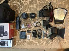 DSLR Canon 700D 50mm, 18-55mm lens and full accessories
