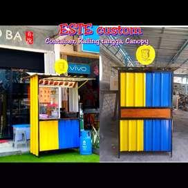 Booth portable semi container bukan rombong aluminium gerobak kayu
