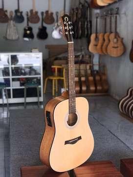 Gitar Jumbo Orlin Natural Equalizer Standar