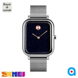 Jam tangan analog cowok cewek skmei original silver ab9187 stainless