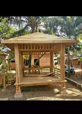 Gazebo minimalis kayu jati ukuran 2,5x2,5m