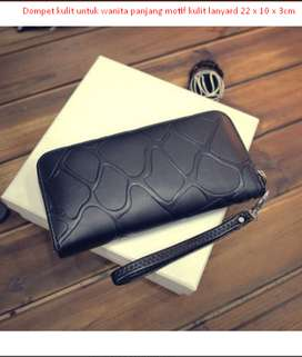 Dompet kulit untuk wanita panjang motif kulit lanyard 22 x 10 x 3cm