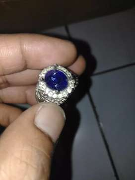 Blue safir batu peninggalan ring perak hande made baru