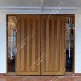 Pintu depan kupu-kupu +kusen dan 2 Jendela bahan kayu mahoni