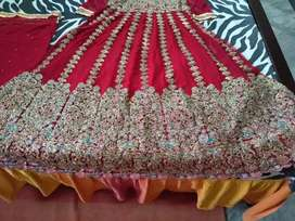 red colour net frock and dupatta