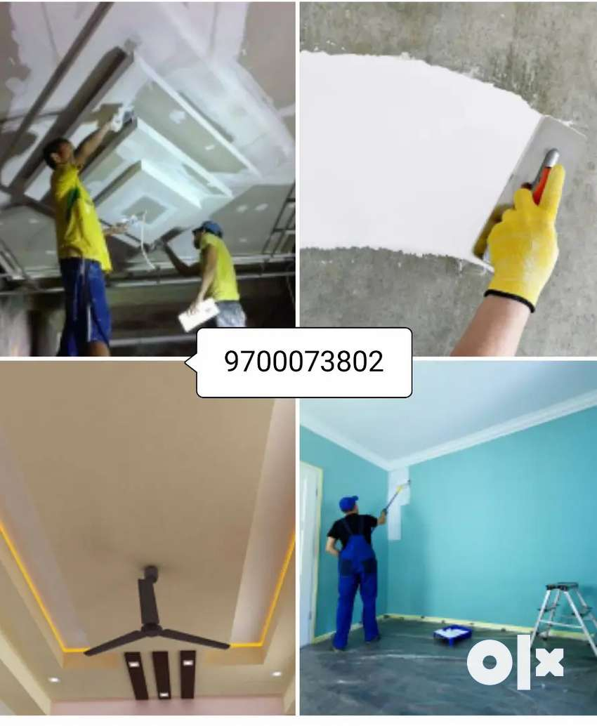 False ceiling home painting wall putty repainting, wall paint contra