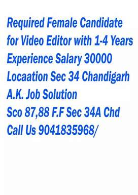 Female Required  Graphic Designer  Video Editor Min.1-4 Years