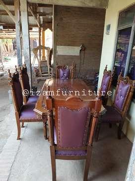 Meja makan jati kursi makan 6
