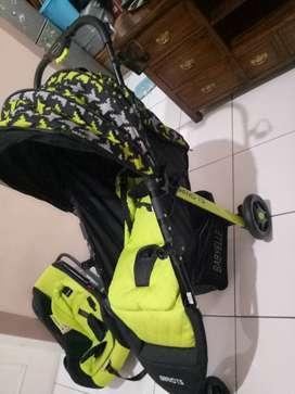 Stroller bayi (babyelle bravo T.S) carseat dan kursi makan babyelle