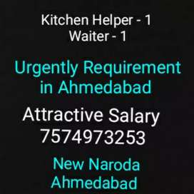 Urgently requirement of Male/Female Kitchen helper and Waiter