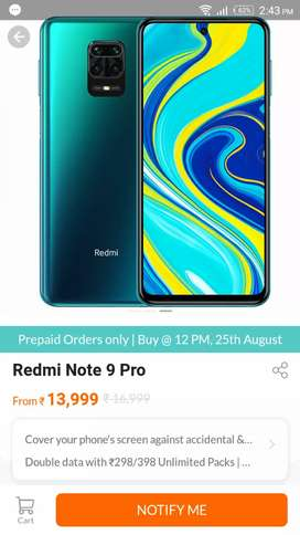 Redmi Note 9 Pro max 6+64 all color available in stock