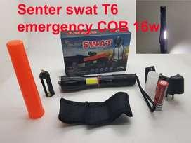 Senter LED Cree Laser T6 Police 380000w Swat + Emergency COB 16 watt