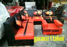 Yoshiko perabot - sofa L hanamizuki orange hitam