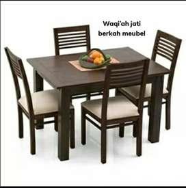 Mejan makan minimalis kursi 4, bahan kayu jati tua terbaik