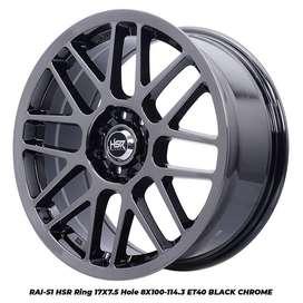 Jual Velg Mobil Yaris Ring 17 HSR RAI-S1 Pcd 8x100/114,3 Black Chrome