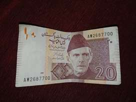 20 rupees old note in crispy condition