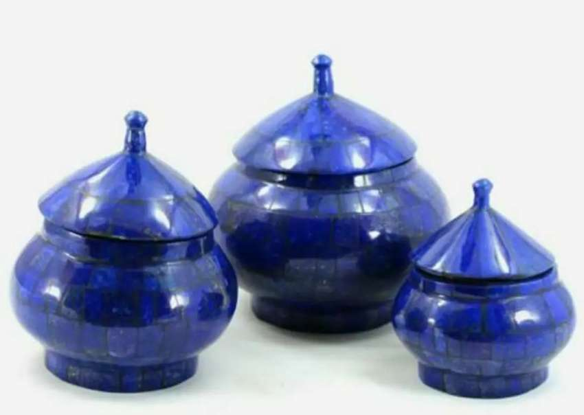1645 gm Lapis Lazuli Stone Jewelry Boxes 3 Pcs Set from Afghanistan
