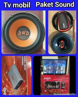 Full set Paket sound Tv mobil Power Sub doubledin tape harga grosir