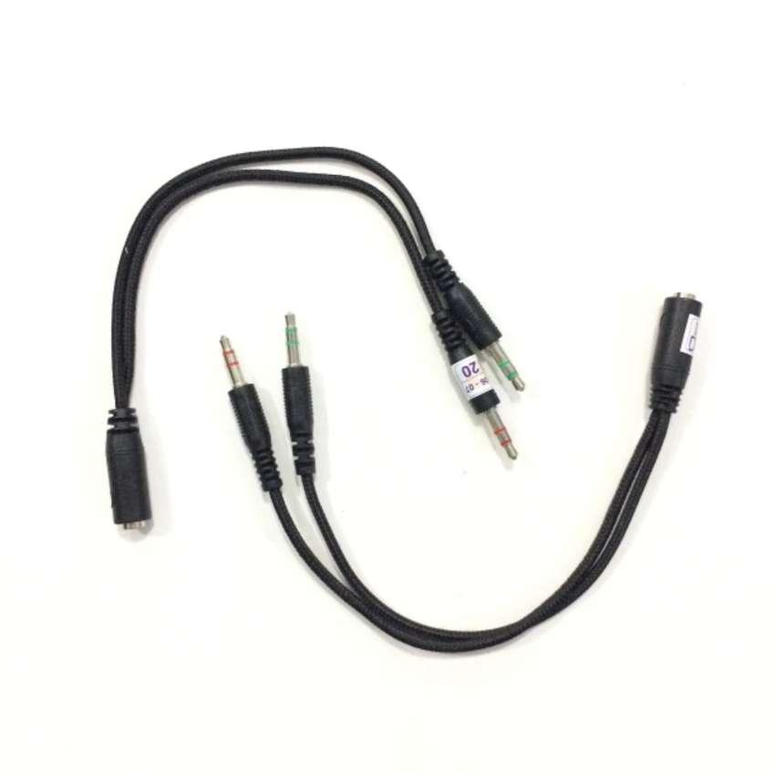 N E W Kabel Splitter Audio 3.5mm Headset/Mic untuk PC/Laptop/Notebook