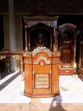 mimbar masjid kubah simple jati