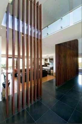 Kisi-kisi kayu/partisi kayu/pagar kayu/plafon kayu/kanopi minimalis
